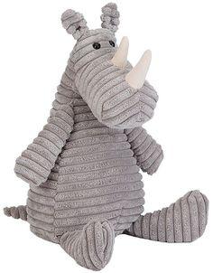 Deze grijze ribstoffen neushoorn heeft een eigenzinnig karakter. Het liefst is hij de hele dag aan het zwemmen en rondstampen en hij is trots op zijn prachtge hoorns. De vacht van deze knuffel is lekker zacht. #jellycat #neushoorn #knuffel #grijs #babykamer #kinderkamer #knuffel #knuffeldier