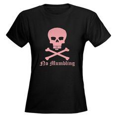No mumbling; Steno Skull Pink, Front Only Womens  Cafe Press