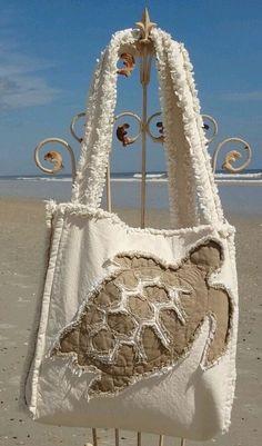Sea Beach Bag - Sea Turtle Khaki on Ivory - Beach Tote Bags, Coastal Totes, Tropical Beach Bags, Nautical Tote Bags, Summer Totes - Nautical Tote Bags, Beach Tote Bags, Fabric Purses, Fabric Bags, Patchwork Bags, Quilted Bag, Bag Quilt, Turtle Crafts, Jute Bags