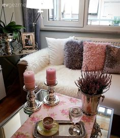 Çiçekler, Gri, Minder, Mum, Pembe Cushions, Throw Pillows, Deco, Cushion, Decorative Pillows, Deko, Dekoration, Decor Pillows, Decor