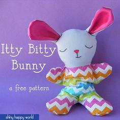 Itty Bitty Bunny - a free softie pattern from Shiny Happy World