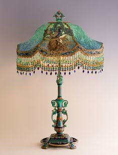 Christine Kilger's Nightshades are one-of-a-kind victorian lampshades with hand-beaded shades on period lighting fixtures and are designed and created with rare antique fabrics, appliqués and embellishments circa Victorian Lamps, Antique Lamps, Antique Metal, Antique Lighting, Metal Table Lamps, Wood Lamps, Chandeliers, Retro Lampe, Painting Lamps
