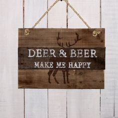 Gift for Hunter Deer & Beer Make Me Happy Hand Painted Rustic Pallet... ($39) ❤ liked on Polyvore featuring home, home decor, wall art, grey, home & living, home décor, wall décor, wall hangings, personalized wooden signs and wood signs