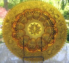 "Tiara Indiana Glass Amber Sandwich 12"" Egg Tray Platter #IndianaGlass"