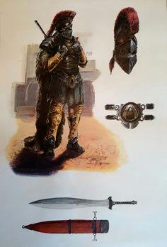 Concept art of a ancient warrior, Fragan Tanguy on ArtStation at https://www.artstation.com/artwork/v9ZWD