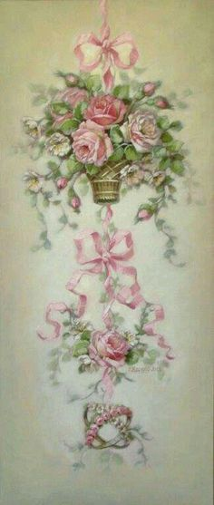 Christie Repasy Sweet Romance Canvas Giclee in Pink Decoupage Vintage, Art Floral, Vintage Cards, Vintage Images, Vintage Rosen, Rose Cottage, Shabby Cottage, Shabby Bedroom, Cottage Style