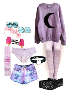 pastel goth (???????) by red-foxess-and-wolf on Polyvore featuring polyvore, fashion, style, H&M and Cotton Candy