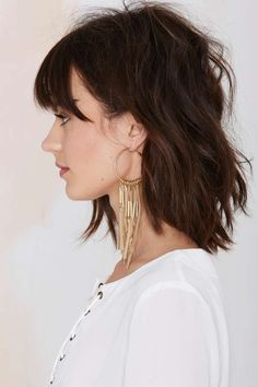 fringe hoop earrings & love the long bob