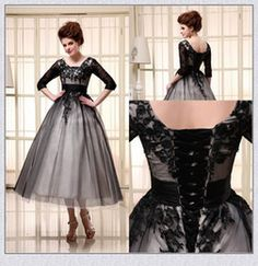 Discount knee tea length mother bride dresses 2015 Black Mother of the Bride Dresses Half Sleeve Lace Up Knee Length Scoop Ivory Applique Party Prom Formal Dress In Stock XS