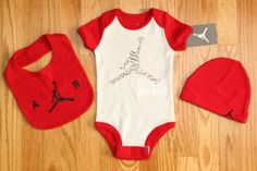Air Jordan Baby Boy Bodysuit, Hat & Bib Set ~ Red, White & Black ~ Jumpman ~ #Jordan #Everyday