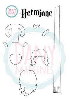 Molde para recorte - Marcador de páginas da Hermione Assista:  https://www.youtube.com/watch?v=s0d1Y9Xg9KE