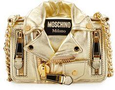 Moschino Small Moto Jacket Shoulder Bag, Gold