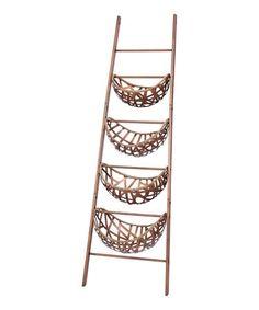 This Copper Baskets & Ladder Décor is perfect! #zulilyfinds