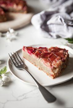 Rhubarb Upside Down Almond Cake
