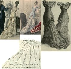 Tygodnik Mód 1877.: Princess form gown as ball dress with various adornments and tuniques; Fig. 1. first front part in half, 2. second front gore, 3. side gore, 4. first back gore, 5. second back gore, 6. short sleeve.