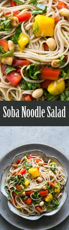 Delicious! Soba noodle salad made with buckwheat soba noodles, mango ...