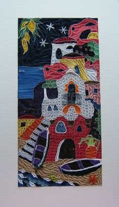 Quilled Mediterranean scene by Philippa Reid, via Flickr