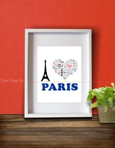 Art Print Home Decor Living Room Love Paris Eiffel Tower Modern Wall Design Graphic Heart Typography Pattern Blue Red Black World Famous
