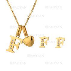"""juego collar y aretes de letra """"F"""" brillante en acero dorado inoxidable -SSNEG1093693"""