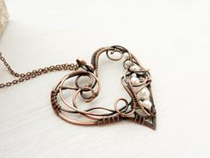 Pendant heart wire pendant wire jewelry by UrsulaJewelry