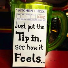 Funny tips to leave a waitress