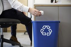 Man dropping screwed up paper into recycling bin, close up photo by monkeybusiness on Envato Elements Waste Management Recycling, Waste Management Services, Recycling Programs, Recycling Bins, Paper Recycling, Office Bin, Types Of Waste, Recycling Information, Recycling Process