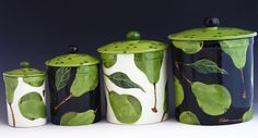 Canister Set - Pear Canister Set of Four - Colorful Handpainted Green Pear Pottery Natural Botanic Home Decor Kitchen Baker Gifts  P-320