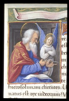 Matthew the Evangelist with his symbol, the winged man - Book of Hours, Tours, France (c.1500)