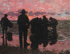 FISHERMEN AT DAWN by Alberto Pla y Rubió Impressionist Artists, Figurative, 19th Century, Dawn, Spanish, Painting, Blond, Painting Art, Paintings