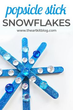 Popsicle Stick Snowflake Winter Craft for Kids. Winter is here, which means so are the icy fun crafts! We recently made popsicle stick snowflakes with the kids and they turned out amazing! The kids had a blast and it was a great quiet winter craft to do inside. You can easily make these too, and with only a few needed supplies, they're the perfect next craft to make this winter season. To see all the fun, please continue reading on the blog. via @theartkit