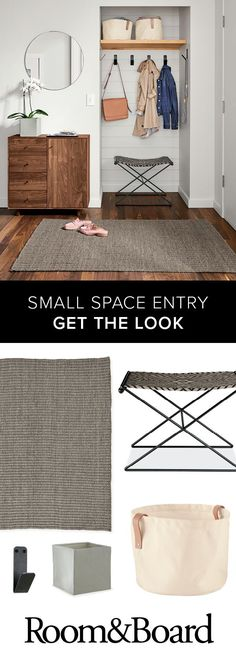 Set the tone of your home with an inviting and modern entryway! Our small space solutions will take your foyer space from good to great. It's a great spot to display your personal style along with functional and versatile storage pieces that make your e Design Scandinavian, Modern Entryway, Good To Great, Small Space Solutions, Home Decor Bedroom, Bedroom Ideas, Home Remodeling, Home Office, Small Spaces