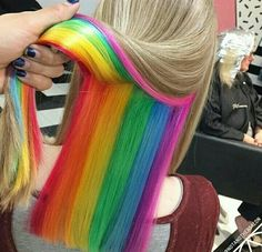 Hidden Rainbow Hair pastel hair 12 Hairstyles And Hair Trends You Need To Try In 2018 Hair Dye Colors, Cool Hair Color, Popular Hairstyles, Pretty Hairstyles, Hairstyles Men, Rainbow Hairstyles, Latest Hairstyles, Braided Hairstyles, Wedding Hairstyles
