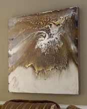 """""""WHITE GOLD"""" ABSTRACT ART This dynamic, hand-painted mixed media abstract art includes gold leaf, creamy white hues, and crushed silver pigments. All paint used in its creation is handmade using the finest pigments and crushed metals, giving each painting a heightened sense of depth and a rich metallic glow. Each painting comes with a certificate of authenticity. By Blakely Bering. 39""""Sq. x 2""""D."""