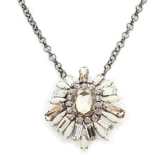 This altogether lovely Lillian Pendant necklace is just the right piece to magnify your beauty. The cream and topaz pendant is crafted with dazzling crystals for a stunning effect. This glamorous necklace will be cherished from years to come. Find it on Splendor Designs