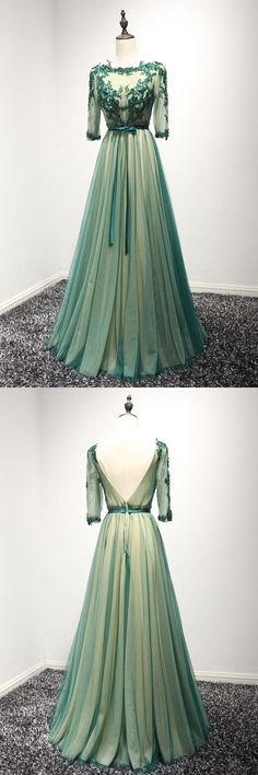 Only $149, Backless Long Green Lace Prom Dress With Beading 3/4 Sleeves #AKE18047 at #SheProm. SheProm is an online store with thousands of dresses, range from Prom,Formal,Party,Evening,Green,A Line Dresses,Long Dresses,Customizable Dresses and so on. Not only selling formal dresses, more and more trendy dress styles will be updated daily to our store. With low price and high quality guaranteed, you will definitely like shopping from us. Shop now to get $10 off!