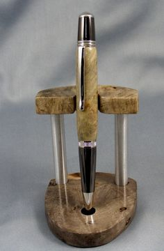 Buckeye Burl Twist Pen with Matching Stand by pioneerpens on Etsy, $75.00