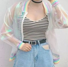 Quality Harajuku Summer Women Jacket Laser Rainbow Symphony Hologram Women BasicCoat Clear Iridescent Transparent Bomber Jacket Sunproof with free worldwide shipping on AliExpress Mobile Mode Harajuku, Harajuku Fashion, Kawaii Fashion, Harajuku Style, Indie Outfits, Korean Outfits, Casual Outfits, Japanese Fashion, Korean Fashion