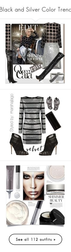 """Black and Silver Color Trend"" by yours-styling-best-friend ❤ liked on Polyvore featuring Carmen March, IRO, Isabel Marant, Off-White, Edie Parker, celebrity, Balmain, Dolce&Gabbana, Jimmy Choo and Plukka"