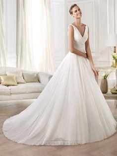 Gorgeous V-neck And V-back Draped Ball Gown Wedding Dress