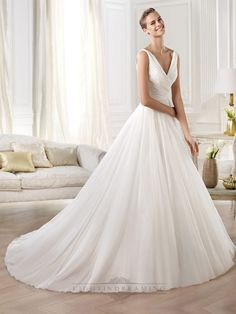 Gorgeous V-neck And V-back Draped Ball Gown Wedding Dresses