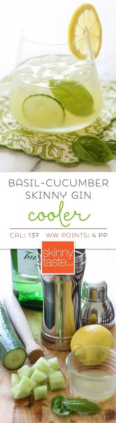Vodka instead of gin? Basil-Cucumber Gin Cooler – if you're looking for a signature cocktail that looks like it jumped right off a spa cuisine menu for under 140 calories, this is it! Party Drinks, Cocktail Drinks, Gin Cucumber Cocktail, Basil Cocktail, Gin Cocktail Recipes, Cocktail Night, Milk Shakes, Gin Basil, Basil Drinks