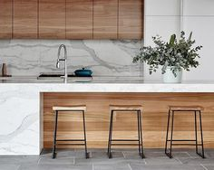 """The right stools will bring the best out of your kitchen, making coffee with…"