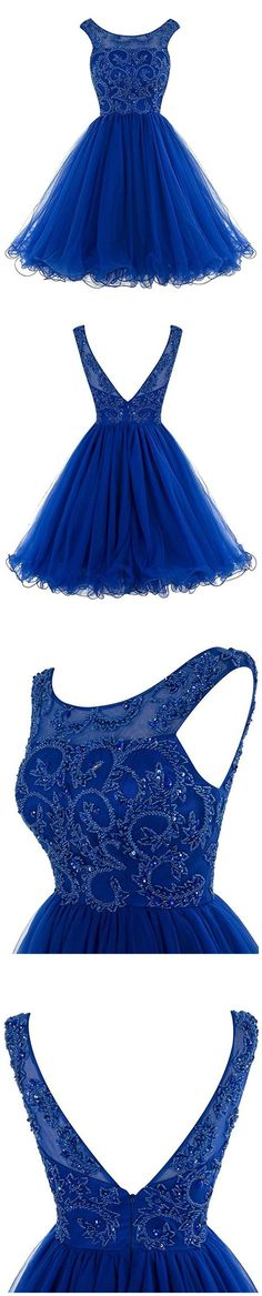Royal Blue Short Homecoming Dresses,Tulle Short Prom Dresses,Beading V Back Homecoming Dresses