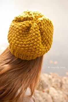 Knit hat with seed stitch