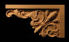 A carved stair bracket onlay to accent the rise/run of the staircase and featuring a fleur des lis with decorative. Stair Brackets, Wood Brackets, Wood Appliques, Curved Wood, Stone Cladding, Wooden Stairs, Wooden Crafts, Carpet Runner, Wood Carving