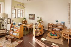 """Classroom B at Branches Atelier in Santa Monica, CA. just needs some color provocations on the wall but this classroom beautifully exemplifies the Reggio ideal of using """"natural materials"""" Toddler Classroom, New Classroom, Classroom Setting, Classroom Design, Classroom Decor, Preschool Furniture, Preschool Rooms, Preschool Classroom, Montessori Classroom Layout"""