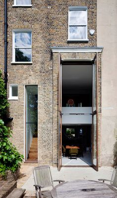 Clapham House extension - David Mikhail Architects note glass window to floor - worth exploring Big Doors, Windows And Doors, Space Architecture, Architecture Details, Casa Loft, Mews House, Glass Extension, Architectural Features, House Extensions