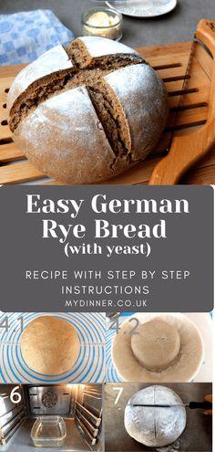 German Dark Rye Bread Recipe, German Rye Bread Recipe, German Bread, Yeast Bread Recipes, Flour Recipes, German Recipes, Rye Bread Benefits, Rye Bread Ingredients, Homemade Rye Bread