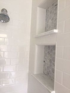 White subway tile in master shower Master Bathroom Reveal: dual shower cubbies Upstairs Bathrooms, Basement Bathroom, Small Bathrooms, Tile For Small Bathroom, Subway Tile Bathrooms, Modern Bathroom, White Bathrooms, Brown Bathroom, Basement Walls