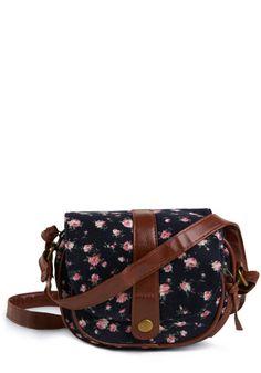 navy corduroy handbag with country rose print